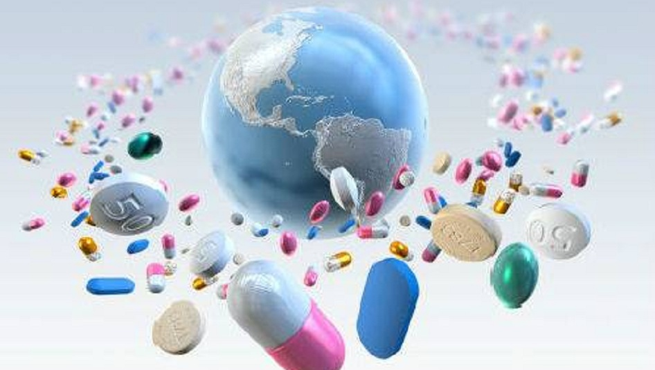 drugs and tablets orbiting a globe