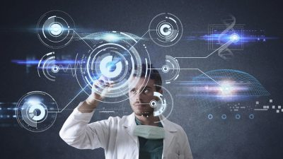 Doctor working on a futuristic touchscreen interface