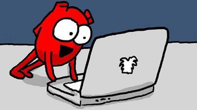 cartoon heart using a laptop