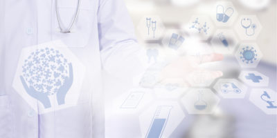 person in white coat with a stethoscope and with healthcare icons